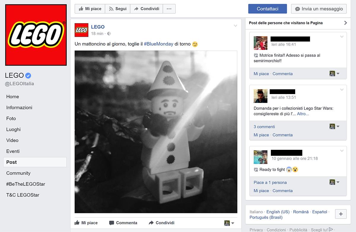 Pagina Facebook Lego