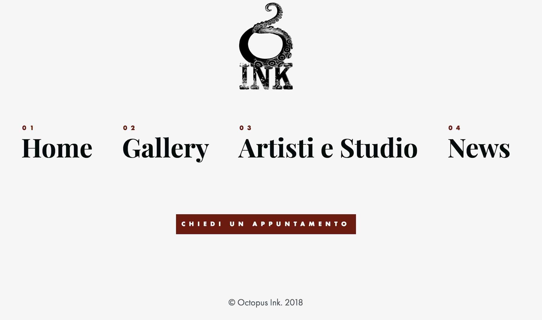 Sito web per studio di tatuaggi Octopus Ink