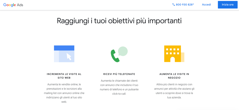 Schermata di Google Ads