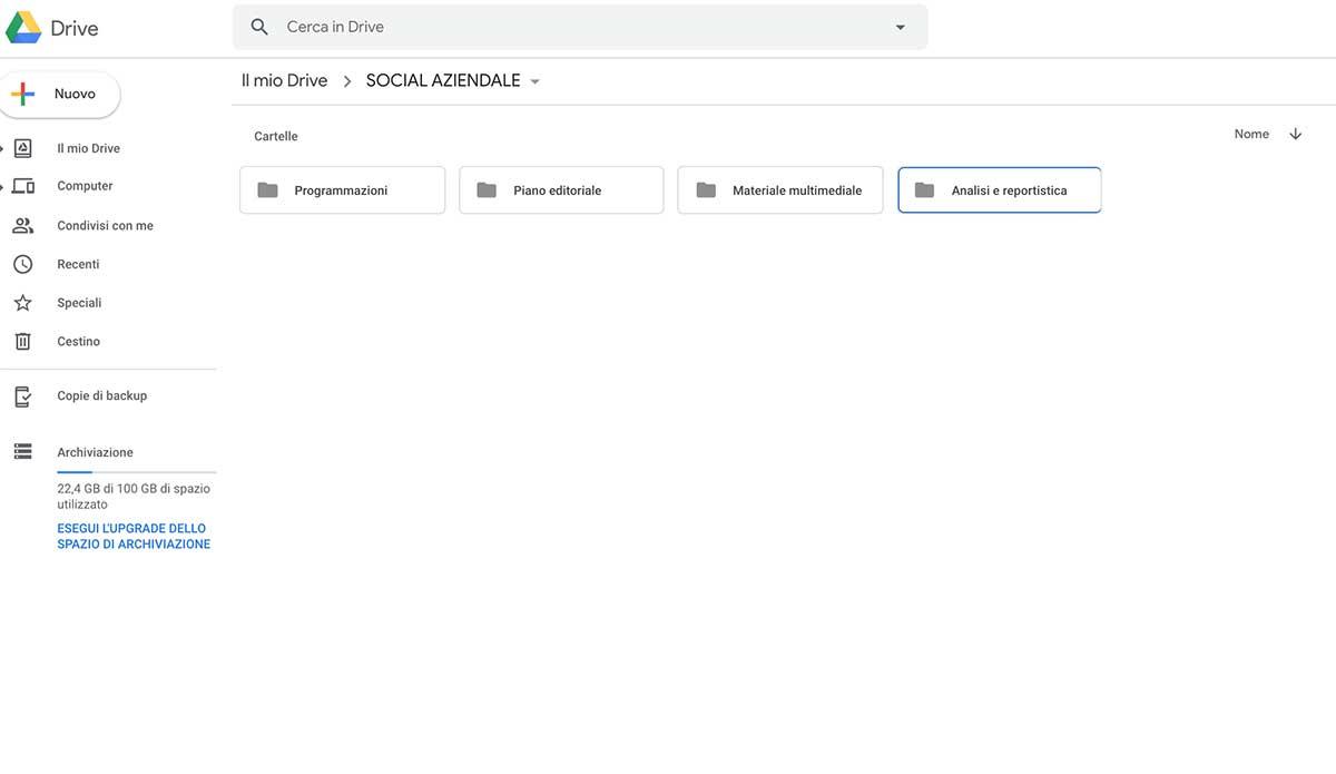 Organizzazione delle cartelle su Google Drive - Realizzare un piano editoriale sui social