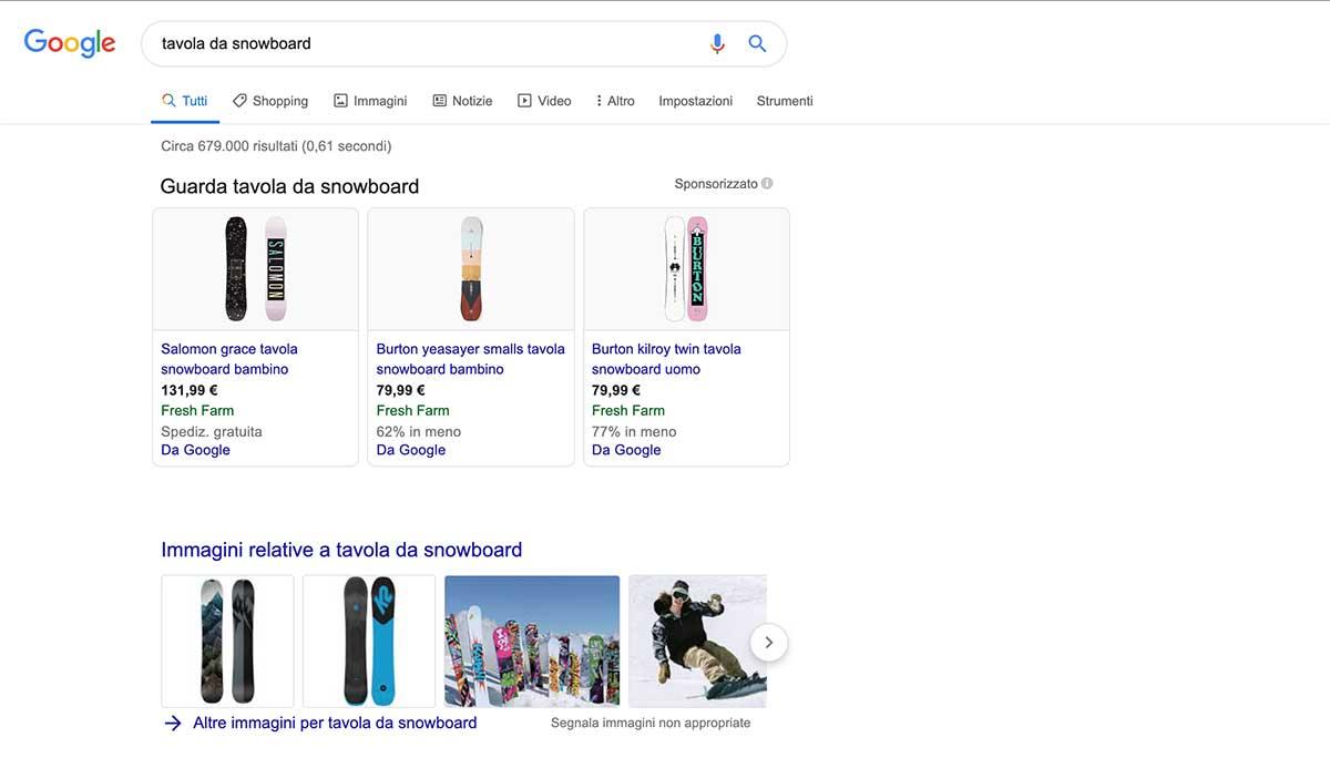 Esempio di SERP, pagina di risultati di ricerca di Google