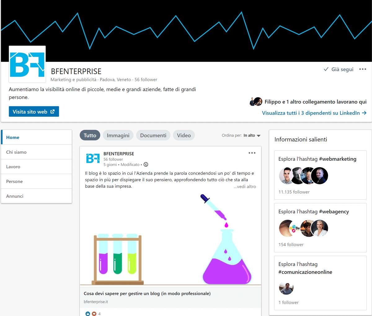 Profilo aziendale Linkedin