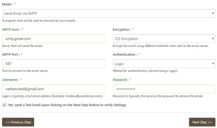 configurazione SMTP mail bank